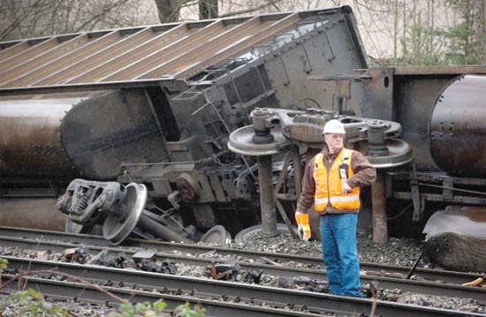 This coal train derailed in Burnaby, BC, on January 1, 2014